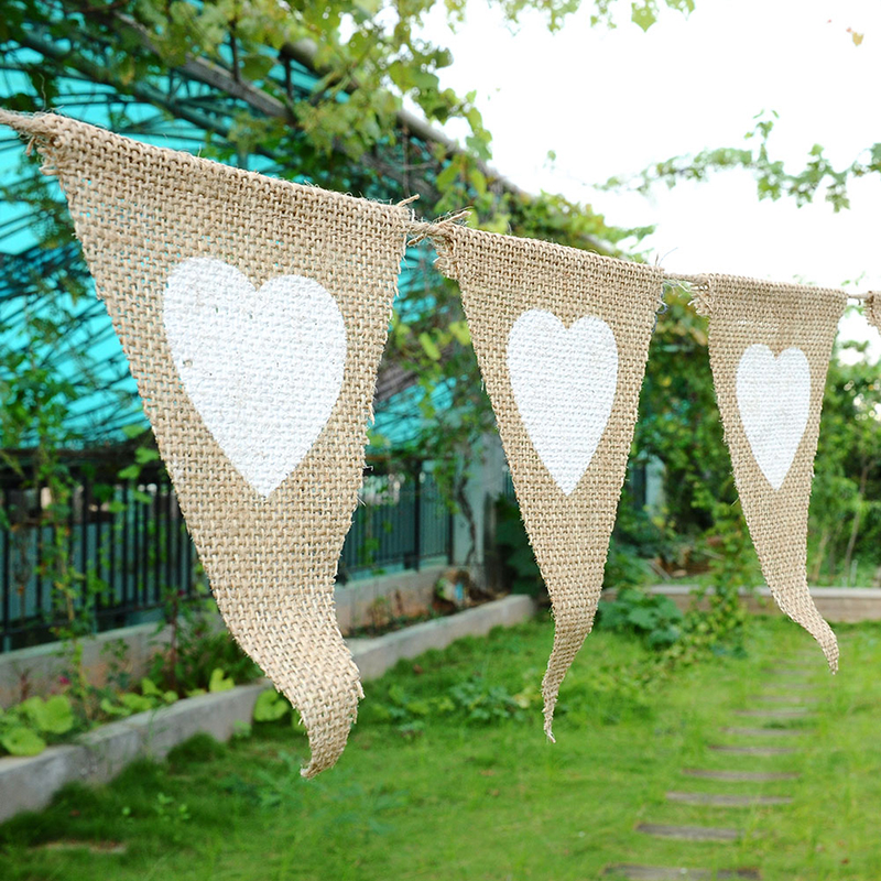 Love Pattern Triangles Flags Linen Pennant Banner Festival Valentine Wedding Party Decor Anniversary Celebration Event Supplies(China (Mainland))