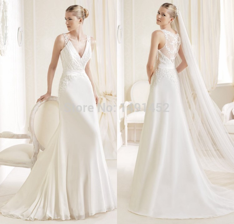 HotBest Sale 2015 Robe De Mariage Simple Elegant Chiffon Line Floor Length V Neck Tank Lace Wedding Dress Vestido Casamento