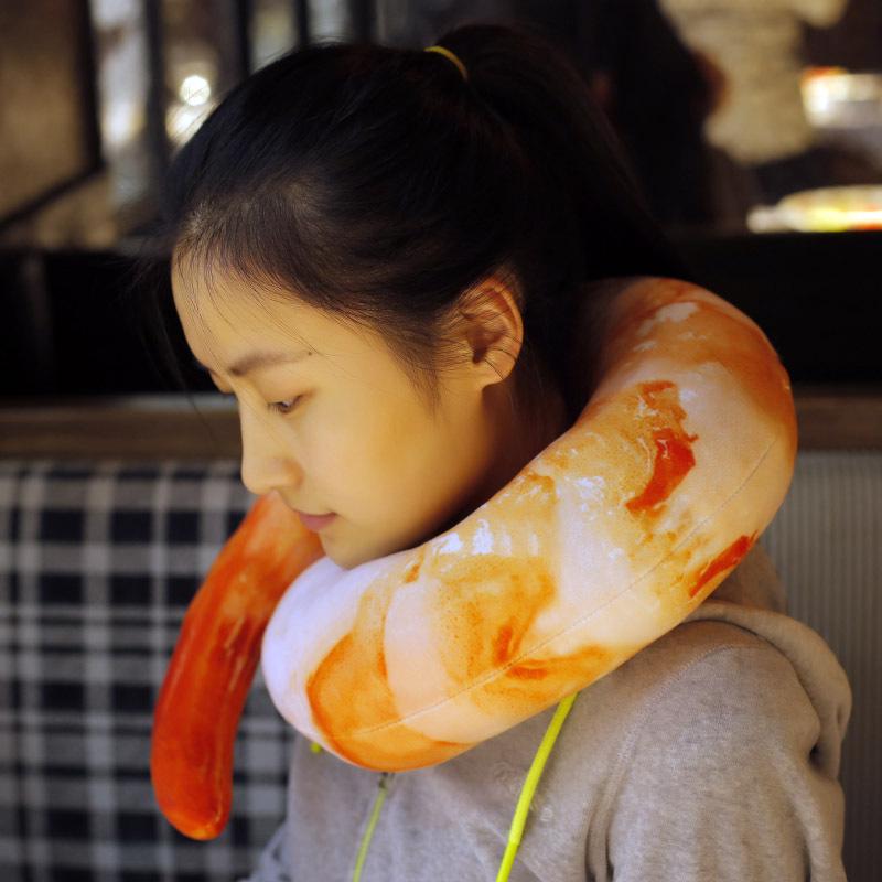 1 Pc 40CM Novelty Creative Soft Stuffed Toys U Type Neck Cushions Kids Gifts Cute Funny Shrimp Meat Peeled Plush Dolls Pillow(China (Mainland))