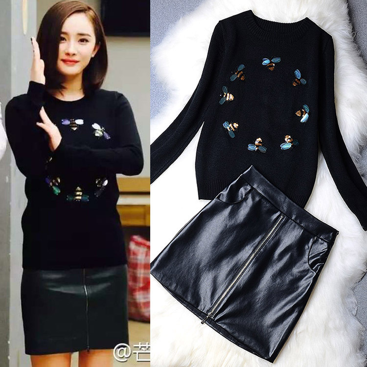 2017 Cotton Modal Offer New Winter Clothing Embroidery Sequins Knitting Sweater Dress Figure Short-sleeved Two-piece Suit