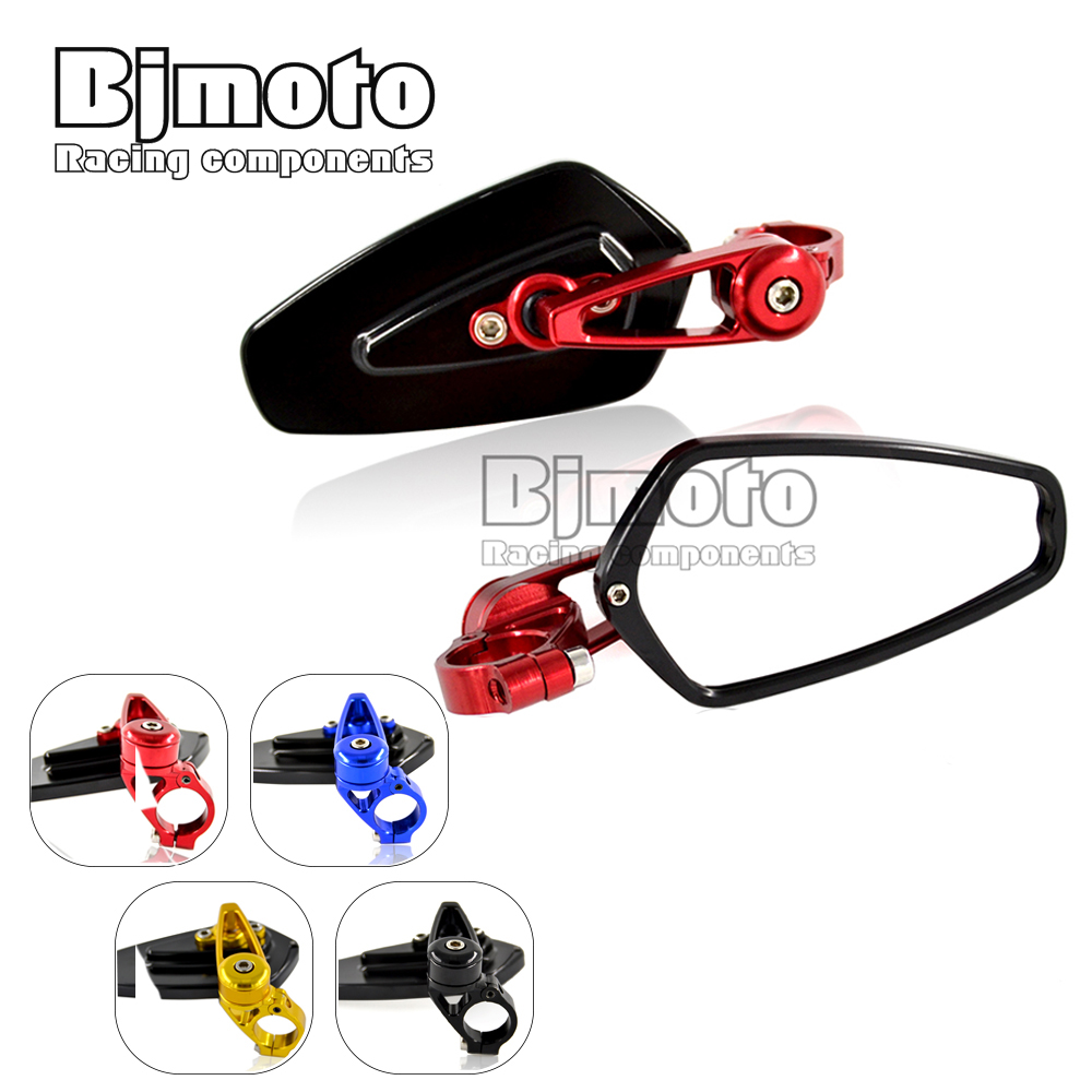 RM-061B-BK-RD New 7/8 22mm Universal Pair Motorcycle CNC Aluminum Rearview Mirror Handle bar End Black Side Mirror<br><br>Aliexpress