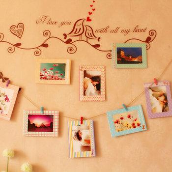 8pcs Porta retrato 6 '' Creative Home Decor DIY Wall Paper Photo Frame Wall Picture Album + Hanging Rope +Wooden Clip