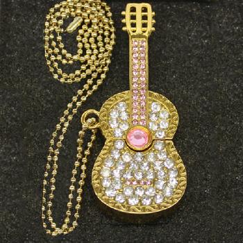 Retail jewelry crystal musical Guitar shape USB Flash Drive pen drive memory stick pendrive 2G/4G/8G/16G/32G/64G Free shipping