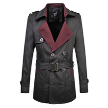 big size M-6XL Top Quality Brand Classic Double-breasted Trench Coat Men's Spring Fashion Business Men Trench With Belt (China (Mainland))