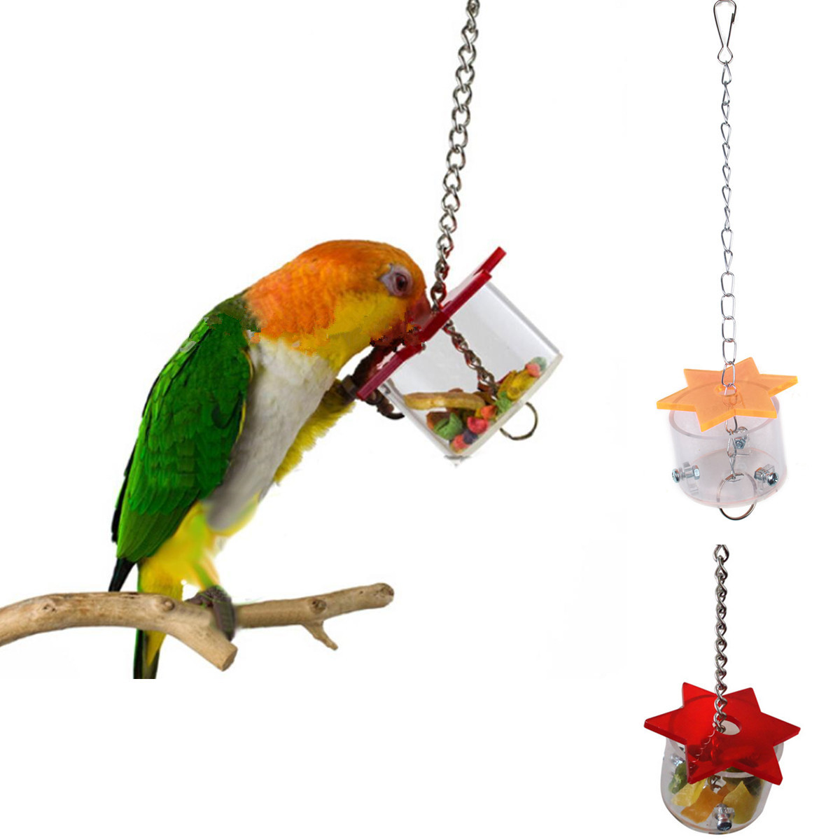 Bird Feeding Box Toy Parrot Pet Hex Star Acrylic Foraging Feeder Birds Chew On Hanging Cage Swing Toys Random Color(China (Mainland))