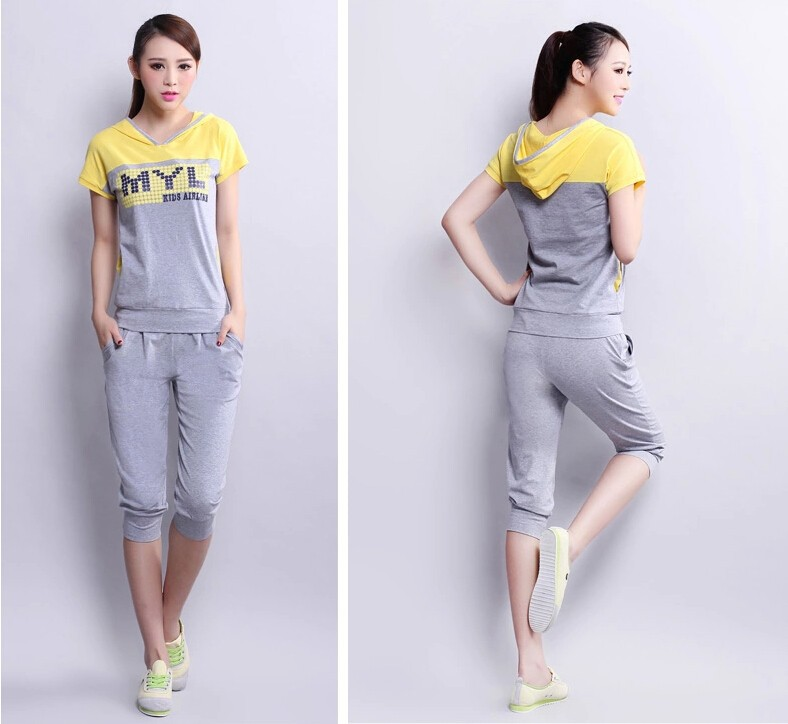 2015 latest summer leisure sports suit short sleeve 7 minutes of pants  Women suit splicing letters printing fashion suits G1194