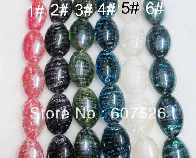 17*25mm 100Pc/Lot Wholesale DIY Mix color Lampwork Murano Gold dust glass beads loose Beads,Jewelry accessories free shipping