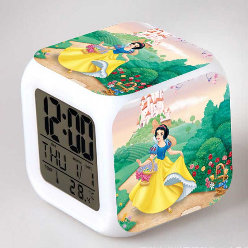 Snow White and the Seven Dwarfs Clock Alarm With Colorful Cartoon Figure Night Light Temperature Classic Toy(China (Mainland))