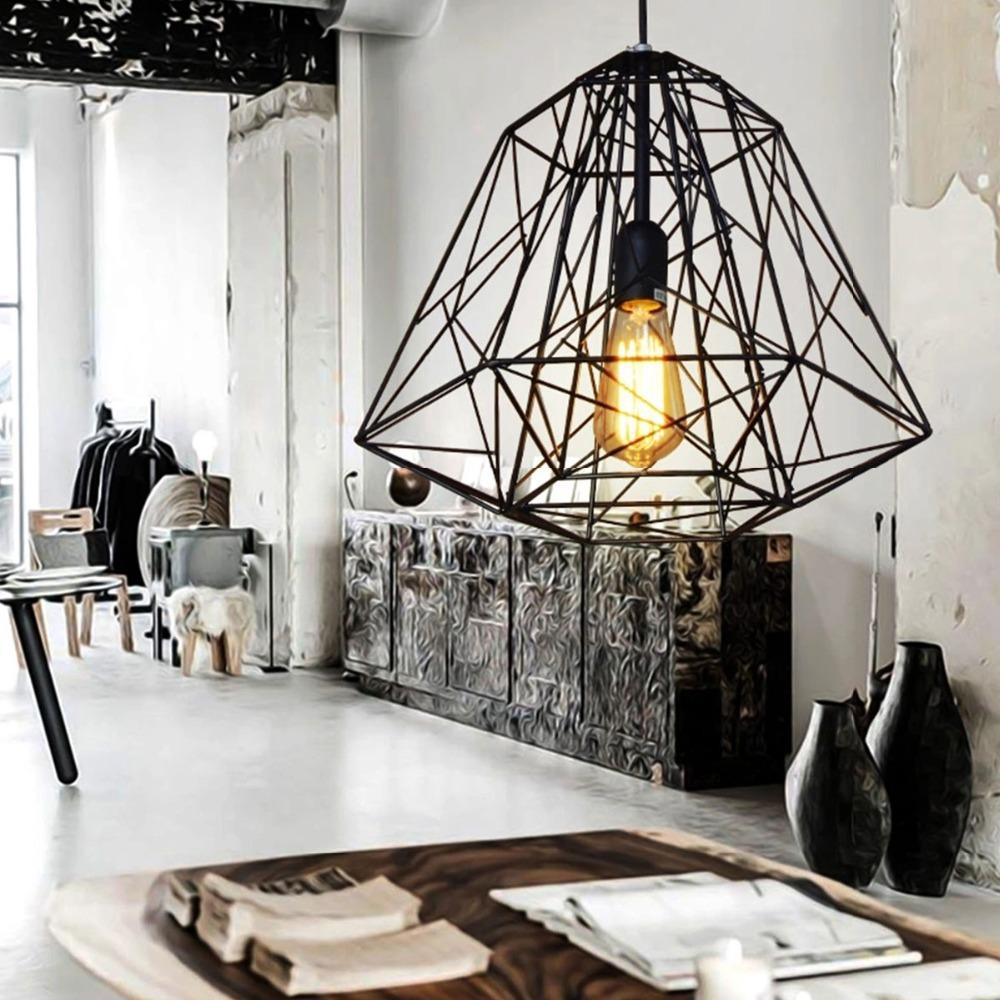 Nordic Diamond Vintage Loft Pendant Lamp Iron Cage Industrial Pendant Light Bar/Warehouse/Dining Hall Fixture Lighting<br><br>Aliexpress