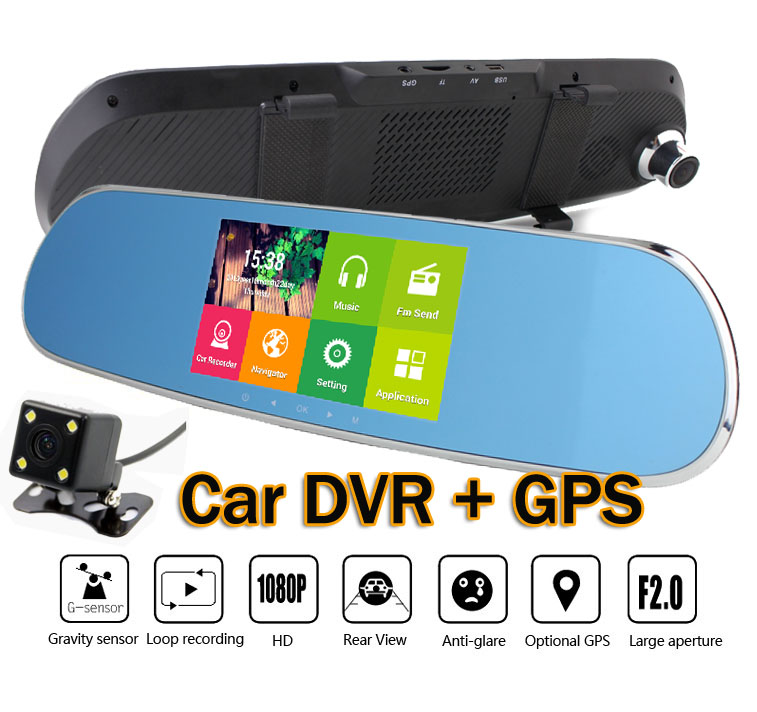 """HD 1080P 5"""" LCD Android 4.4.2 Car DVR GPS Navigation Wifi Parking Rearview Mirror Dash cam video recorder 1G Dual Core cameras(China (Mainland))"""