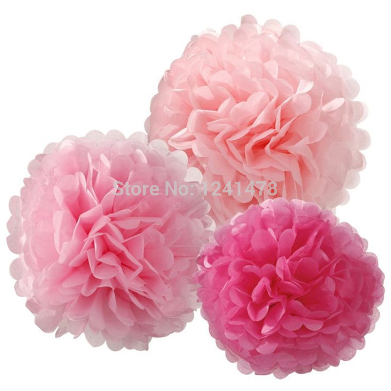 """24 Colors as chart !! DIY paper pom poms design for a holiday decorations 6""""(15cm) 10pcs/lot tissue paper flower garland(China (Mainland))"""