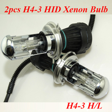 2X Bi Xenon 55W H4 12V AC HID Automotive Headlight Replacement Bulbs H4-3 BiXenon Hi/Lo Beam Lamp with wire FREE SHIPPING AAA(China (Mainland))