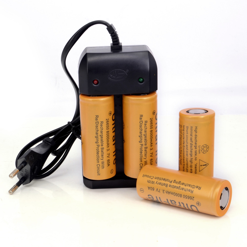 4 PCS/lot Good Quality High Capacity 26650 Li-ion 3.7V 8000mAh Rechargeable Battery batteria Including ONE Travel Dual Charger(China (Mainland))