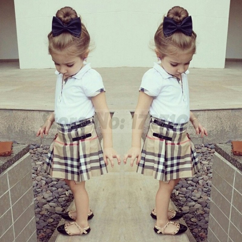 retail 2015 spring autumn new arrival girls clothing set shirt+plaid skirt 2pcs kids girl clothes suits childrens clothing