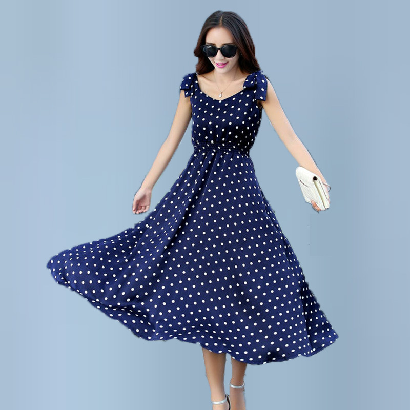 Classy Summer Pinafore Dresses Chiffon Polka Dot Swing Dress Maxi Sundress Long Sexy Casual Printing Robe Maxi Pretty Women Wear(China (Mainland))