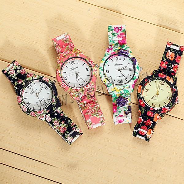 Гаджет  2015 Fashion Wrist Watch Luxury Floral Plastic Geneva Quartz Women Wristwatch Ladies Quartz Casual Dress Watch Relogio Feminino  None Часы