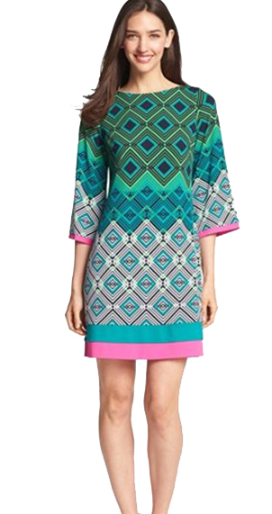 New 2014 Italy Designer Brand Dress Women's Fancy Geometric Printed Stretch Jersey Silk Plus Size XXL Dress(China (Mainland))
