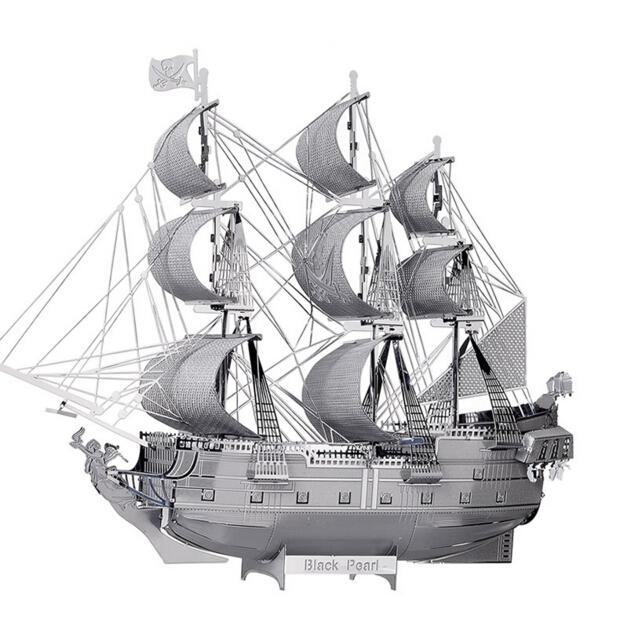 3D Metal Model Puzzle Jigsaws ship model DIY Gift Black Pearl Pirate Ship 3D Laser Cut Models Development Of Intelligence Toys(China (Mainland))