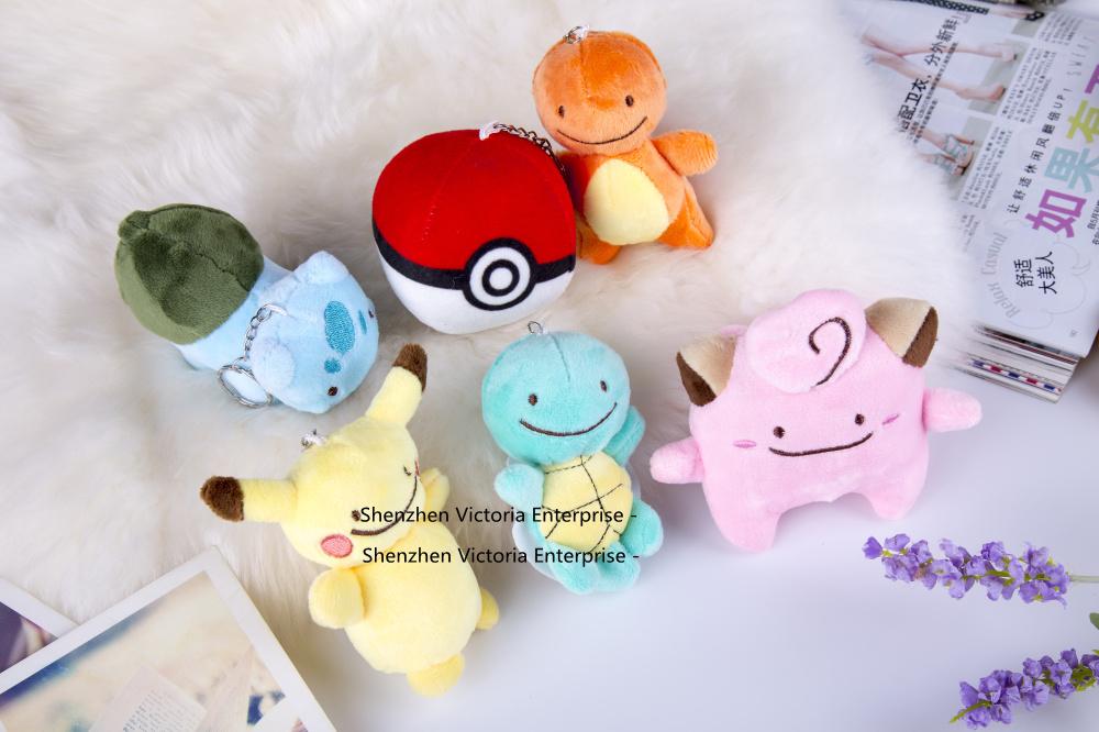 Super Popular HOT Pikachu Plush Gift Toy , 6Designs. Pikachu Stuffed Plush Toy , Pikachu Ball 13CM keychain Plush Toy Doll(China (Mainland))
