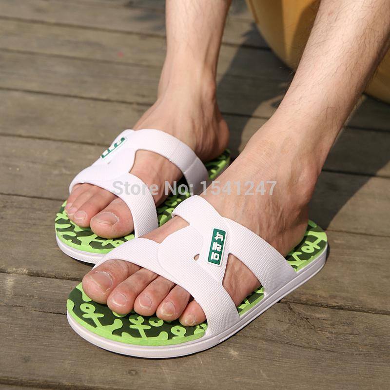 2015Summer slippers Men Casual Flat Sandals, Leisure Soft Slides,EVA Massage Beach sandals slippers Men Size40-44 free shipping(China (Mainland))