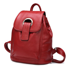 Korean Style Candy Color Women Genuine Leather Backpack Causal School Bags Female Back Pack Cute Bookbag Mochilas Femininas 2017 - SEJUE store