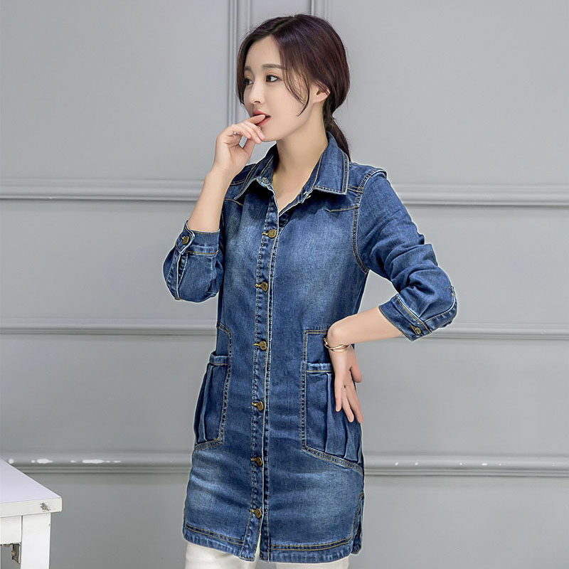 2017 New fashion women's blazer Brand Single Breasted Long Slim Casual denim ladies blazers Suit female jacket Blaser