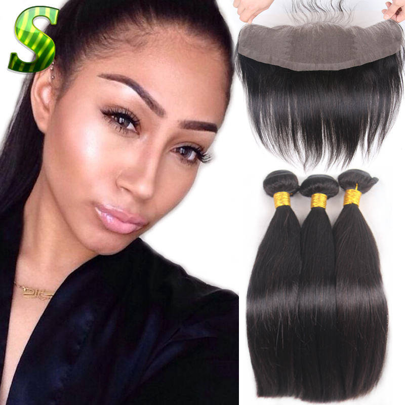 Full Frontal Lace Closure 13x4 With Bundles Baby Hair Straight Brazilian Virgin Human Hair Extensions With Closure Lace Frontal<br><br>Aliexpress