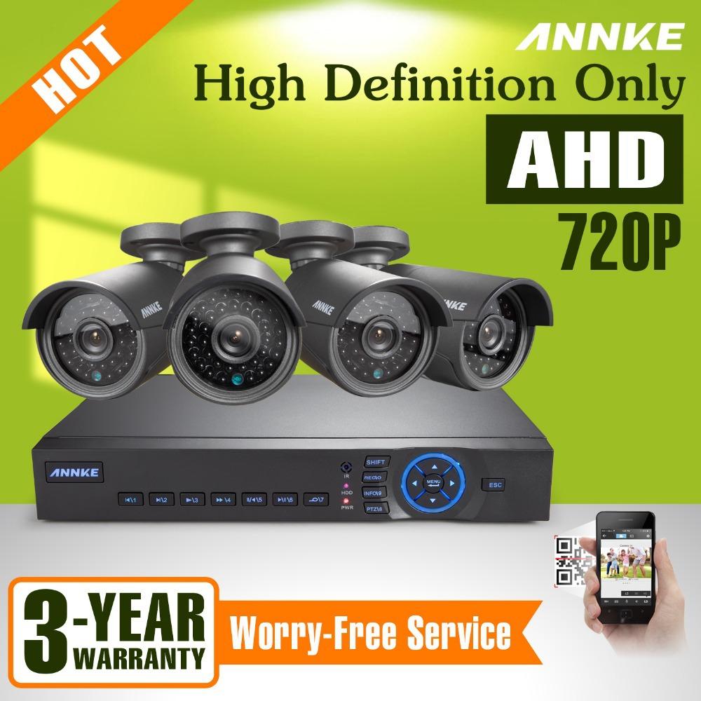 ANNKE 4CH 720P AHD CCTV DVR Outdoor IR Home Security Surveillance Camera System<br>