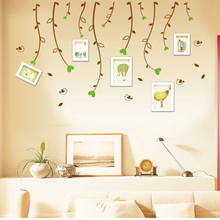 Tree Leaves Photo Frame Living Room Wall Sticker Home Decoration PVC Adhesive Mural Art Vinyl Decal adesivo de parede Wallpaper(China (Mainland))