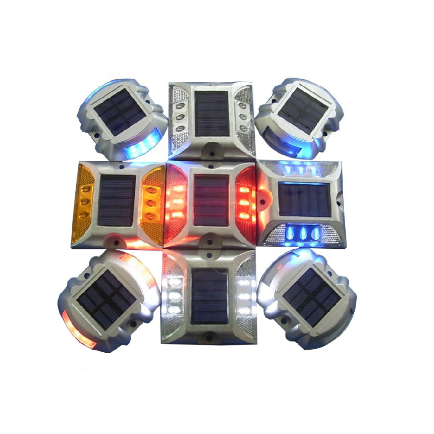 Solar spike aluminum LED traffic lights double reflective road signs, with independent power supply, automatic night lights work(China (Mainland))