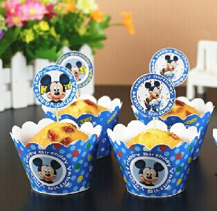 48pcs blue Mickey cupcake wrappers cake cups toppers baby birthday party kids decorations Christmas supplies(China (Mainland))