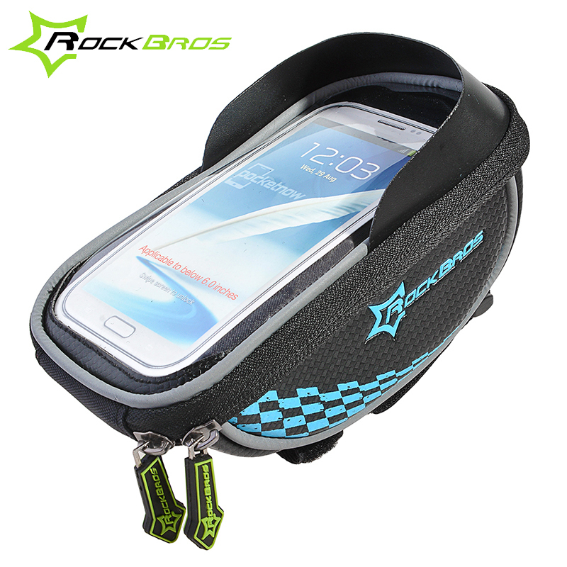 2015 ROCKBROS Riding Bike Frame Front Tube Bag With Waterproof Cover Cycling Pannier Smartphone&GPS Touch Screen Case 5 Colors(China (Mainland))