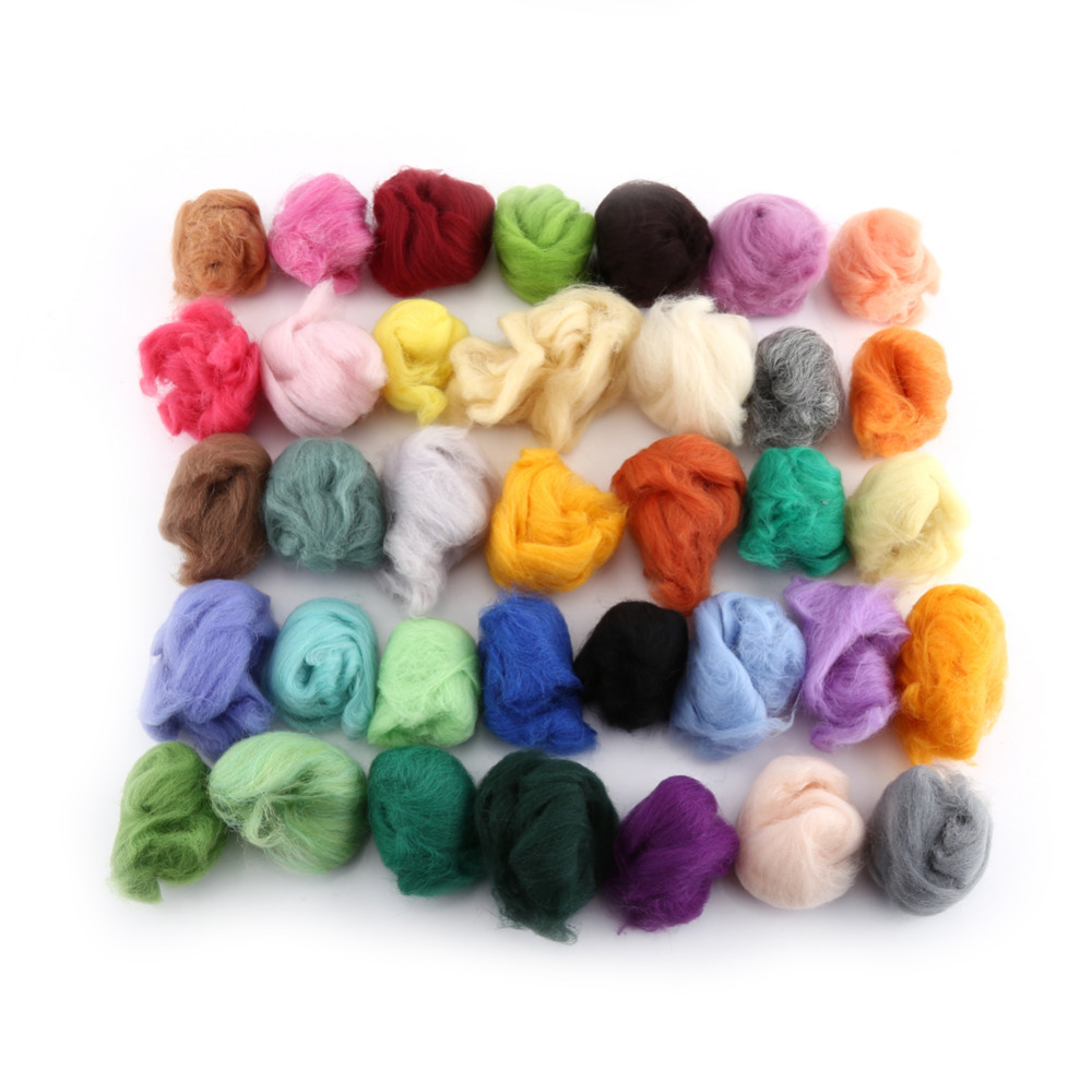 36 Colors Wool Fibre Dyed For Needle Felting Hand Spinning DIY Fun Doll Needlework Raw Wool Felt Spinning Set(China (Mainland))