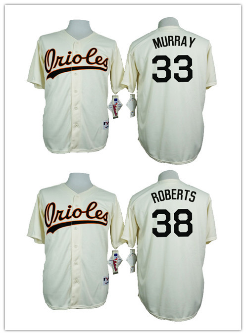 Baltimore Orioles 1954 Turn Back Throwback Baseball Jersey #33 Eddie Murray #38 Roberts S to XXXL(China (Mainland))