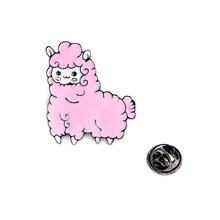 Милый маленький Альпака розовый синий овец эмаль брошь джинсовая одежда значок на лацкан значок мультфильм ювелирные изделия подарок для д...(China)