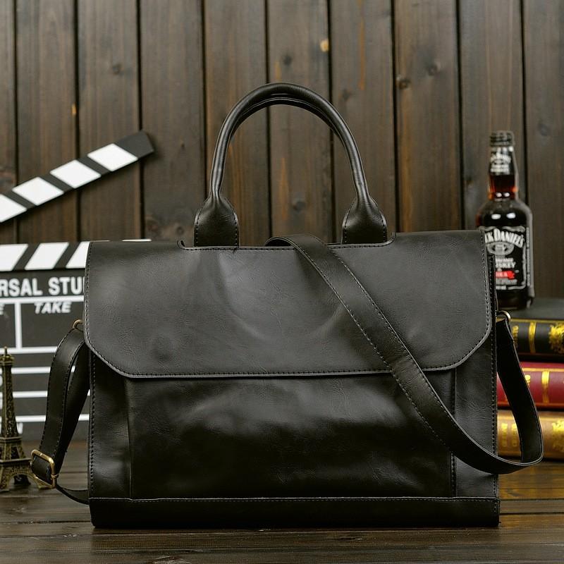 Vintage Men Business Faux PU Leather Briefcase Male Travel Causal Messenger Shoulder Portfolio Laptop Bags Lawer Handbag Bolsa (7)