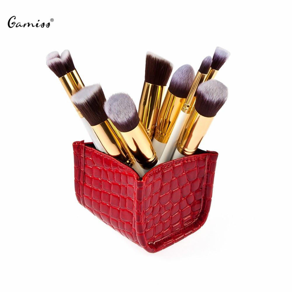 Professional Makeup Brushes Tool Fashionable Cosmetic Grade Red Alligator Pattern Storage Box + 10 pcs Makeup Brushes Sets(China (Mainland))