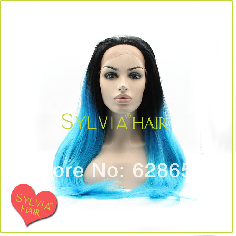 New arrival free shipping 26inch heat resistant fiber  #1b root ombre blue wigs<br><br>Aliexpress