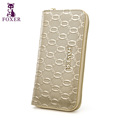 FOXER Casual Zipper Clutch Bags Fashion Emobssing Luxury Women Purse Lady Leather long Wallets Iphone can
