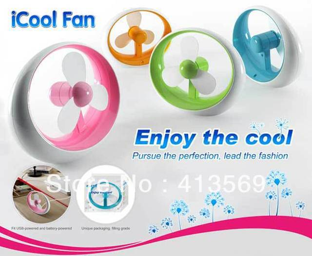DHL Free Shipping mini iCool fan,usb and battery amphibious fan