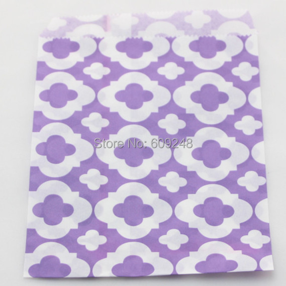 100pcs Mixed Colors Wedding Buffet Candy Treat Lilac Mod Patterned Paper Party Favor Gift Bags for Kids(China (Mainland))