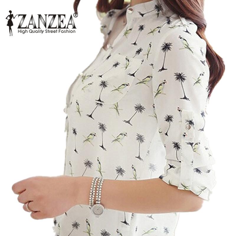 Plus Size S-3XL 2015 New Summer Women Long Sleeve Bird Printed Chiffon Shirts Fashion Slim Blouses Shirts Blusas Femininas(China (Mainland))