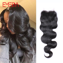 Fedex Free 7A Peruvian Virgin Human Hair Body Wave Lace Closure 4x4 Free Middle 3 Part With Bady Hair Bleached Knots Top Closure(China (Mainland))