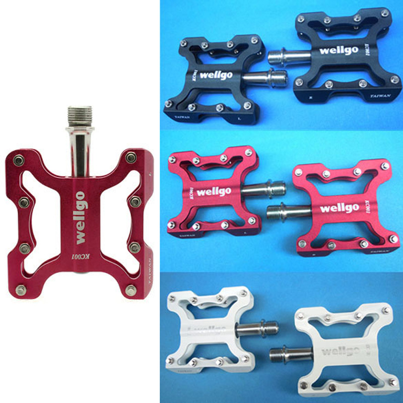 Hot Sale Hot Wellgo Pair KC001 Bicycle Pedals Light Aluminium Alloy CNC Bike Pedals Free Shipping(China (Mainland))
