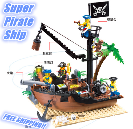 Enlighten 178PCS Pirate Series Pirate Ship Scrap Dock Model Building Blocks Sets Minifigures Compatible With Lego<br><br>Aliexpress