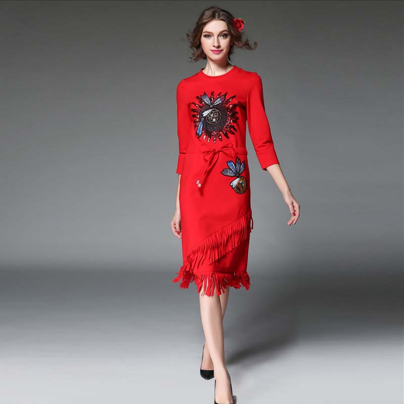 Summer Dress Women Dress 2016 Denim Dress Plus Size Women Clothing High-End Temperament Embroidery Dresses Party Dresses Одежда и ак�е��уары<br><br><br>Aliexpress