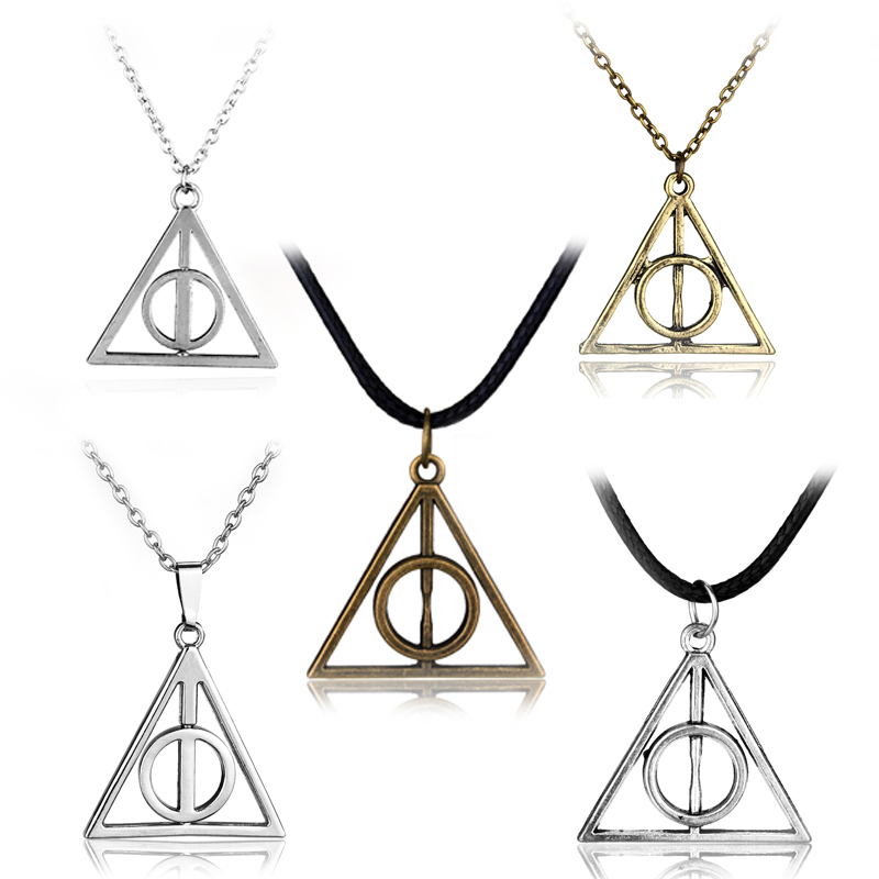 2 Colors Deathly Hallows Metal Necklace Pendant Film Movie HP Gifts(China (Mainland))