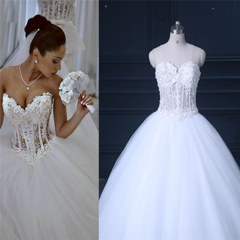 Ball Gown Wedding Dresses With Lace Back : Vestidos de noiva white strapless romantic wedding dresses