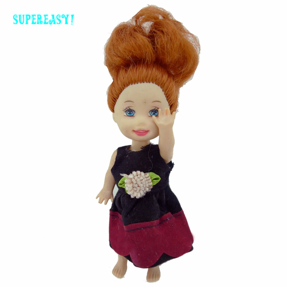 Cute Costume With Flower Black Crimson Skirt 1:12 Costume Dollhouse Equipment For Barbie Sister Kelly Dimension Doll Garments Outfit Toys
