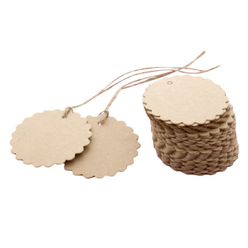 100pcs Round laciness Brown Kraft Tags Wedding Favour Tags with Rope Free Shipping FULI